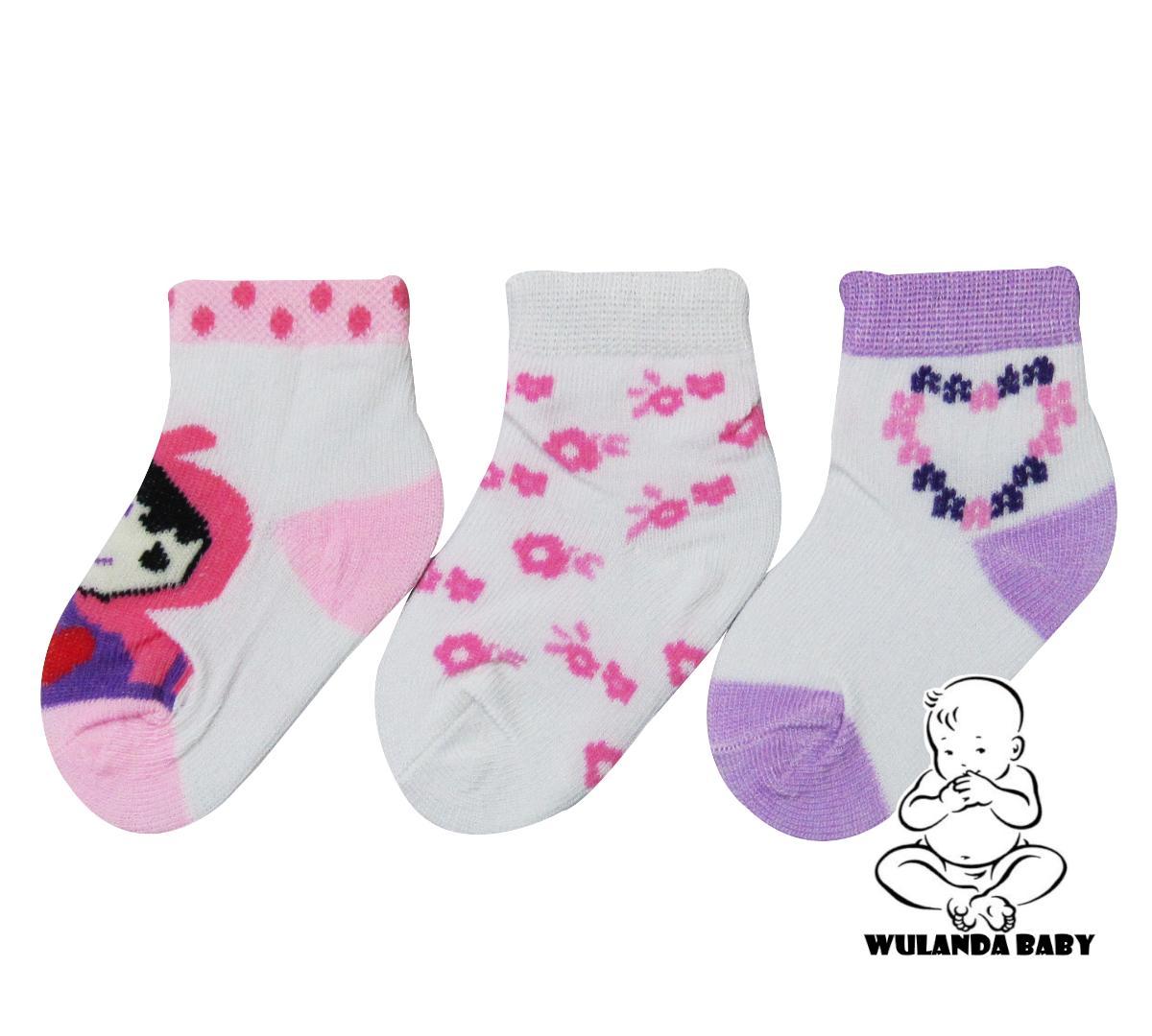 Wulanda 3 pasang kaus kaki anak bayi 0-6 bulan