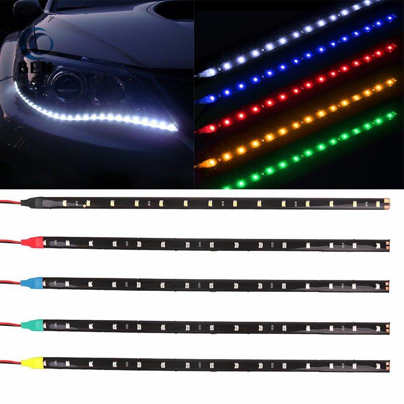 Review 【Bln Auto】1Pcs Waterproof Car Auto Decorative High Power Flexible Led Strip Lamp 30Cm 12 Smd Daytime Running Light Drl Angel Eyes Fog Green