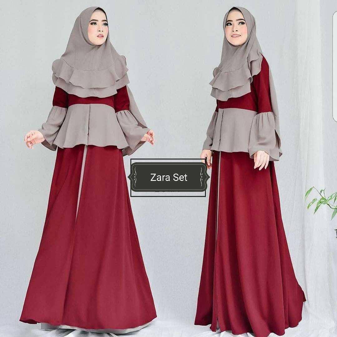 OEM Baju Original Zara dress Set 3in1 Gamis Panjang Wanita Muslim Pakaian Cewek Gaun Muslimah Hijab Casual Simple