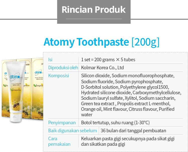 Features Lovablemart Pasta Gigi Atomy Tube 200 Gr Propolis Xylitol