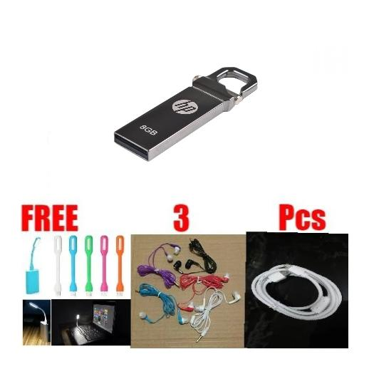FLASHDISK HP V250W  8 GB FREE LAMPU LED + HANSFREE MUSIC ANGEL + KABEL DATA MICRO BMS114016