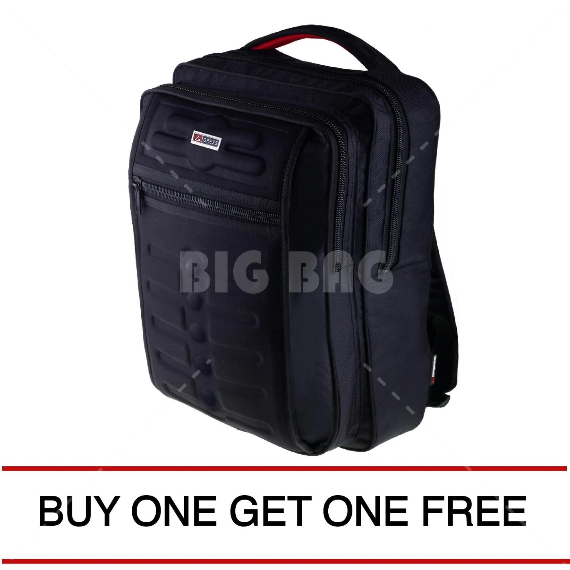 Tas Ransel Gress Emboss Infinity Tas Laptop Backpack - Hitam ( BUY ONE GET ONE ) Tas Pria Tas Sekolah Tas Kerja Dailypack Tas Fashion Pria