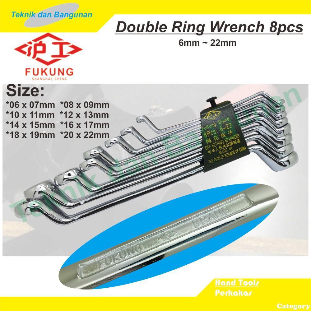 Cek Harga Baru Fukung Kunci Ring Set 8pcs 6 22mm Mirror Polish Tekiro 08 X 09 Mm Tools Alat Perkakas Original 2