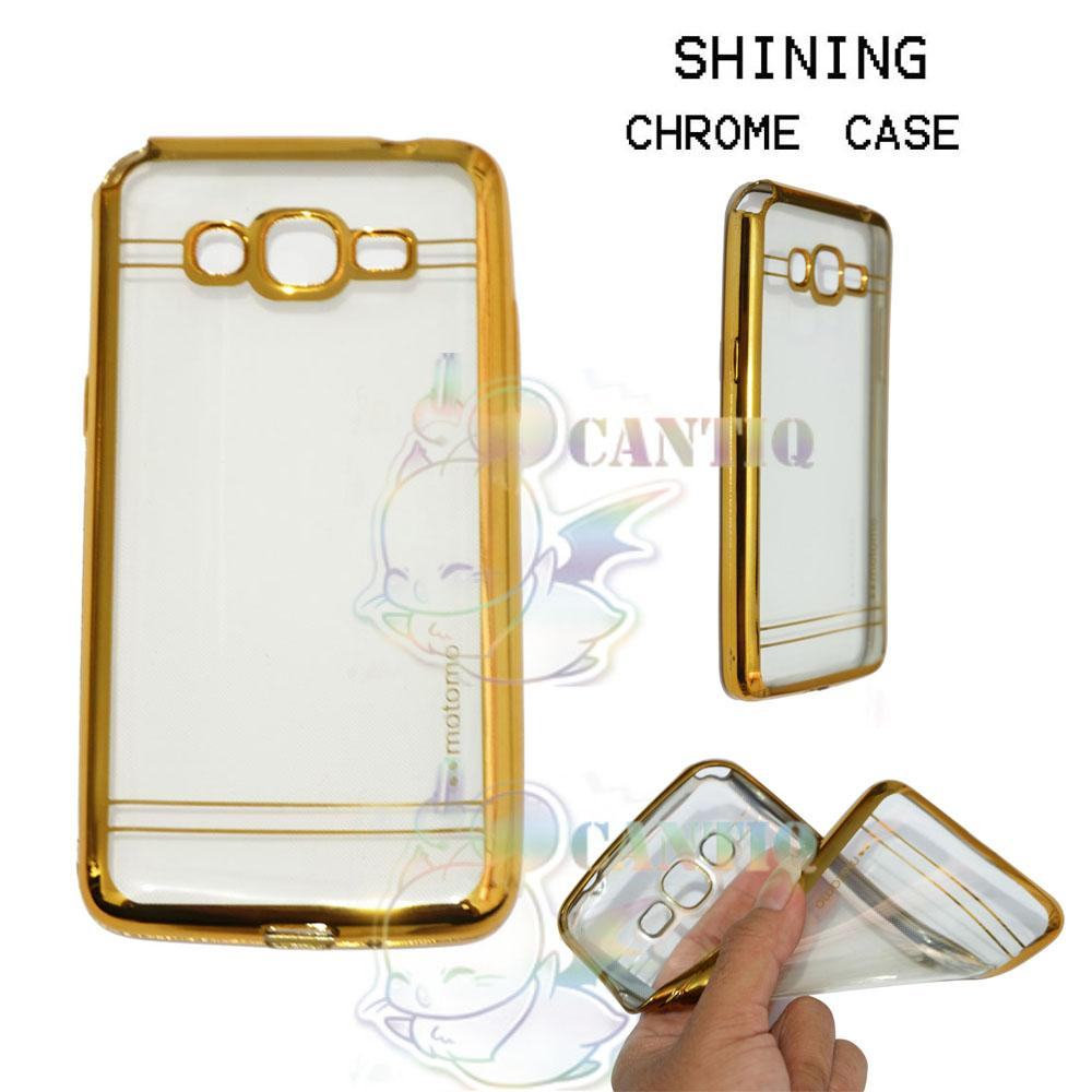 Motomo Chrome Soft Case Samsung Galaxy Grand Prime / Silikon Samsung G530 Shining Chrome / Tpu Jelly Ultrathin Samsung Galaxy Grand Prime Ring Glossy / Softshell  / Case HP / Case Unik / Casing Samsung Galaxy Grand Prime List Shining Chrome - List Gold