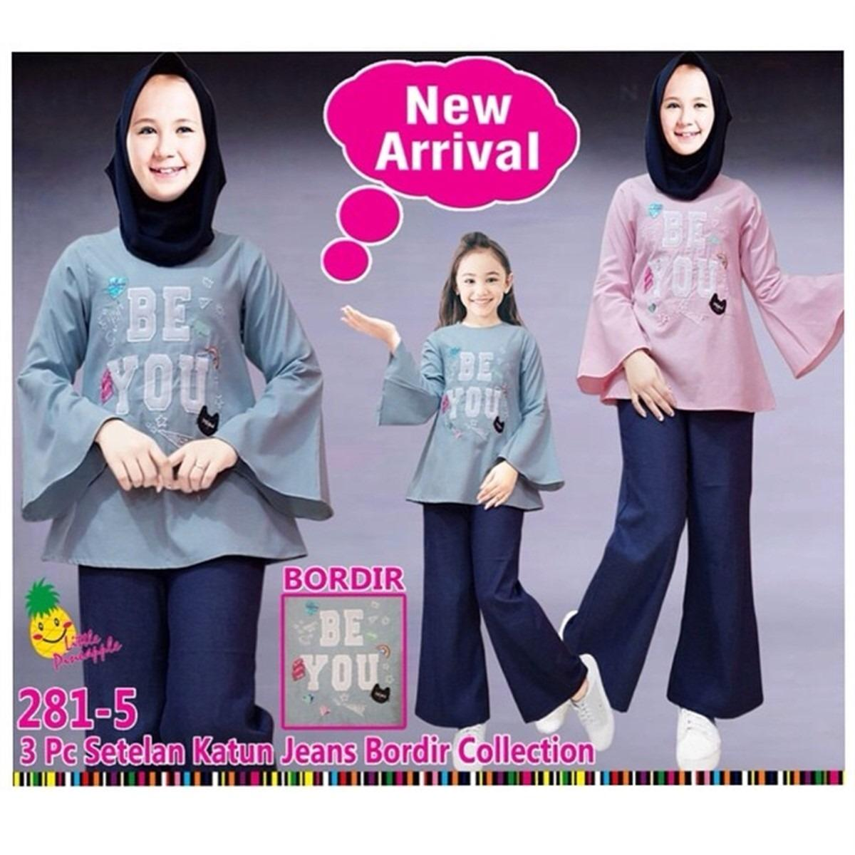 Little Pineapple Setelan Hijab Tunik Celana Kulot Bordir Be You Anak 7-12Y