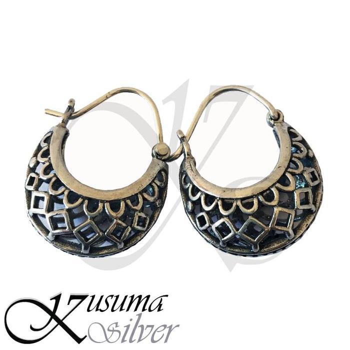 Anting - Earrings Silver Perak Bali Cantel Wajik Lebar Asli 925