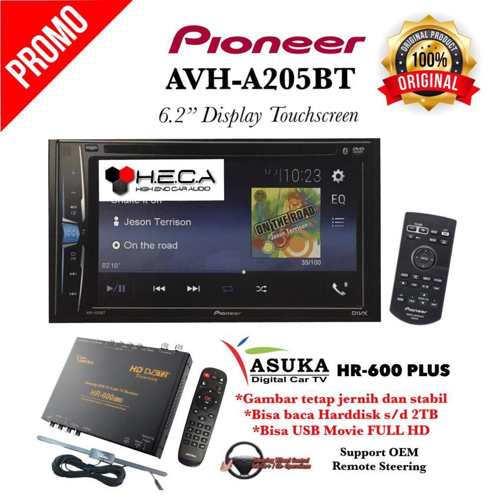PAKET PROMO Pioneer AVH-A205BT Head Unit Double Din 2-din Tape Mobil Audio AVH A 205 BT & TV Tuner Digital ASUKA HR-600 PLUS