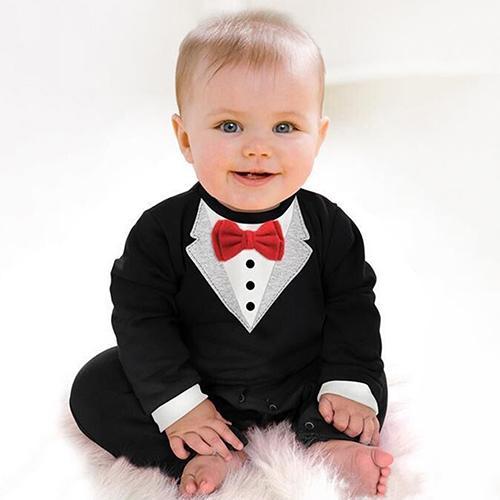 Phoenix B2C  Baby Boy Fashion lengan panjang celana kodok V kerah pola ikatan simpul Rompers - 2