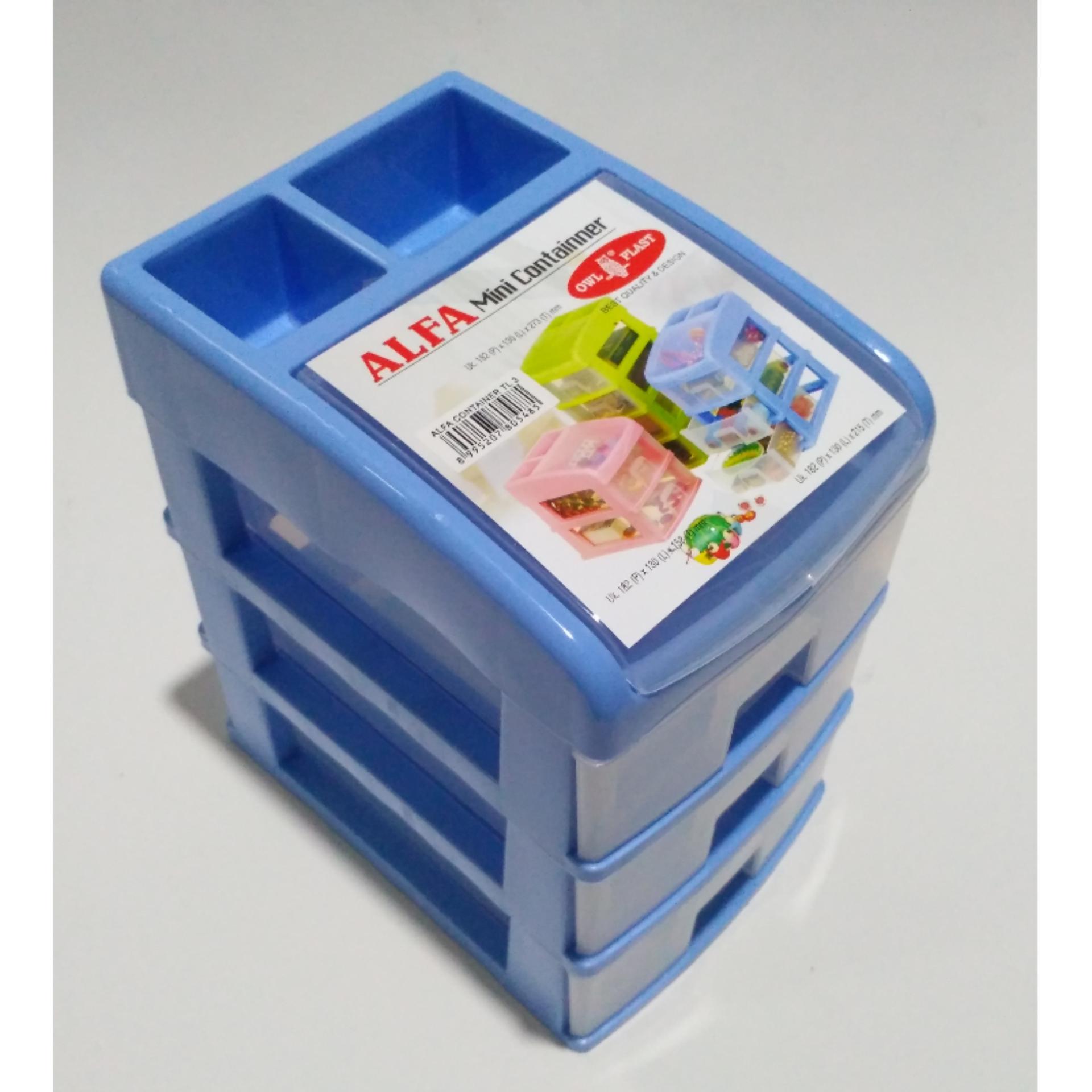 DOS Container Susun / Meja kantor 3 laci Plastik dengan penutup bagian atas
