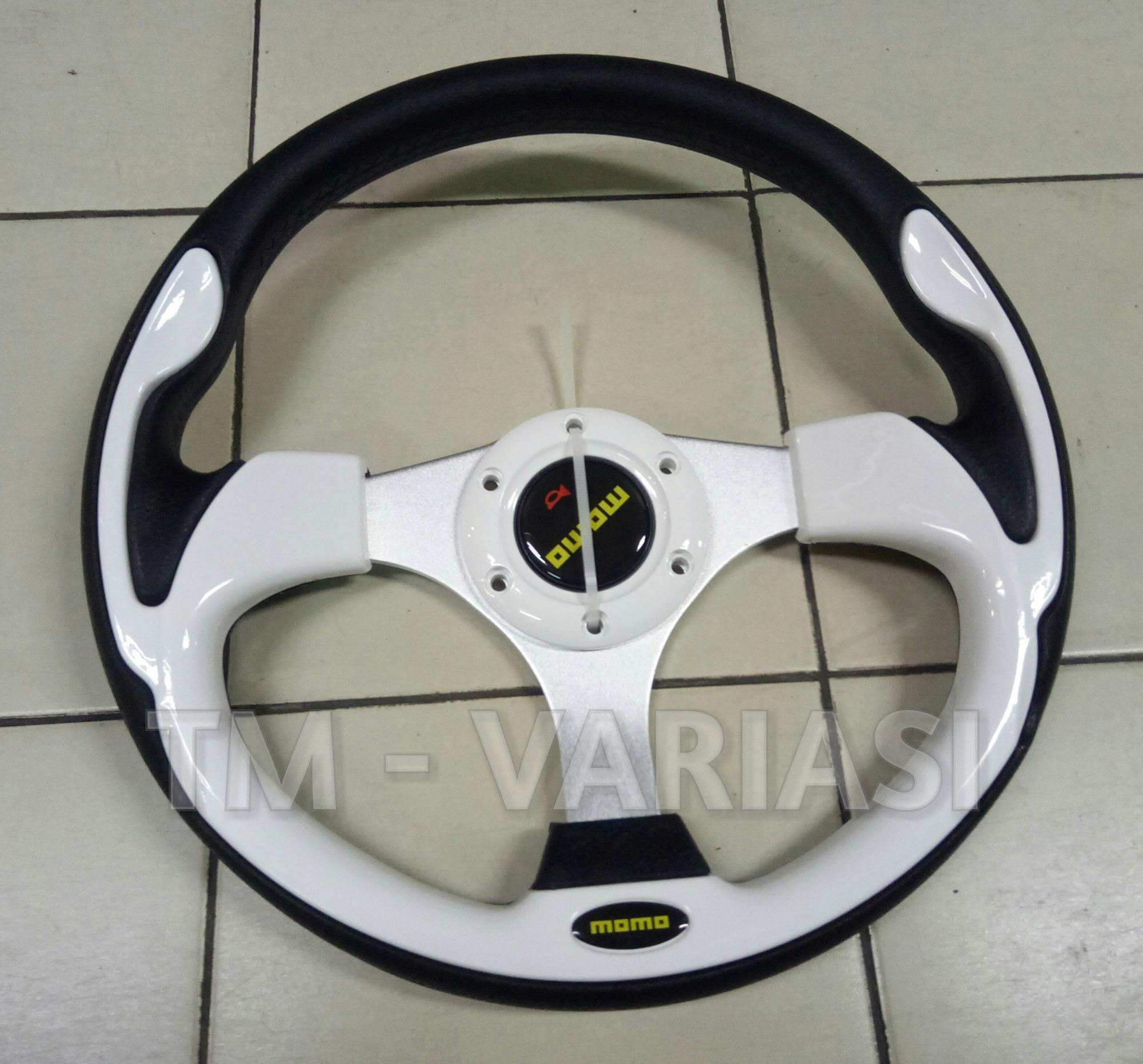 Review Power Handle Pemutar Stir Momo Hitam Logo Putih Universal Dan Racing 14 13 Inchi Import Motif Tinggi