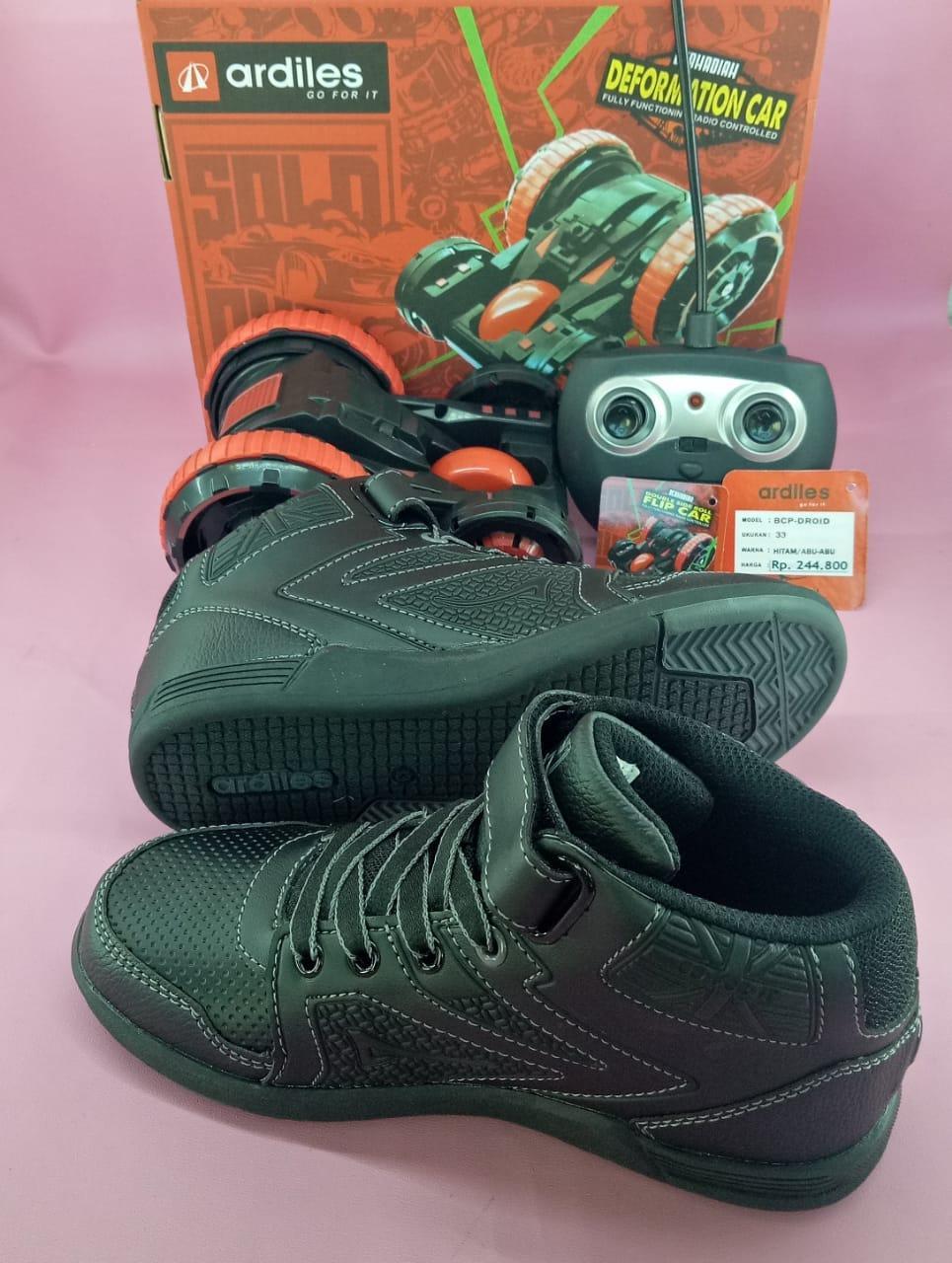 Fitur Ardiles Droid Sepatu Anak Berhadiah Mobil Remote Hitam Abu 31 Warna 36 2