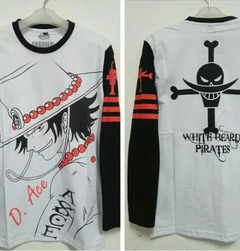 Kaos Long Sleeve Anime One Piece D Ace Free Stiker Anime Keren