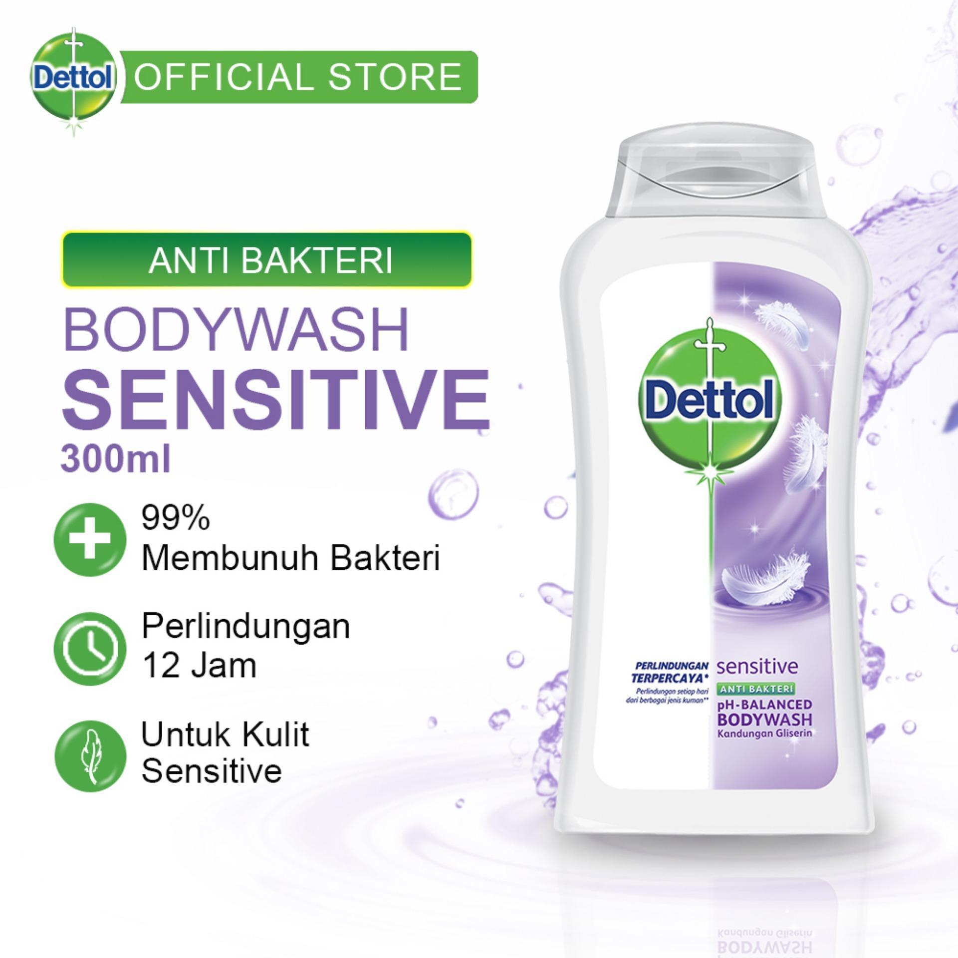 Dettol Sabun Mandi Cair Sensitive-Bottle 300ml-Body Wash Anti Kuman