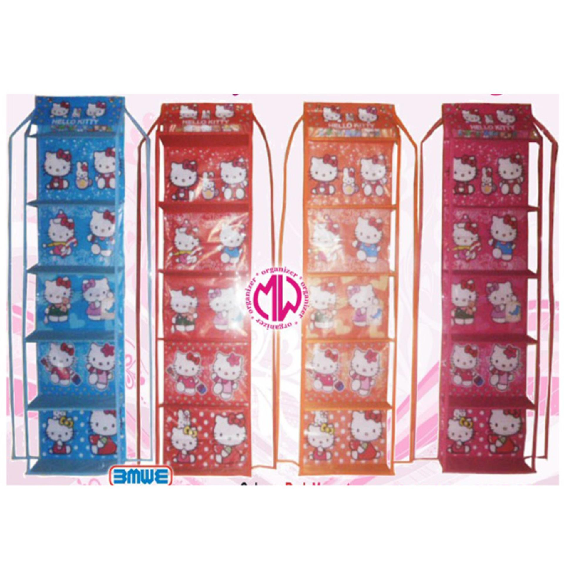 Fitur Hello Kitty Fanta Hboz Karakter Kartun Hanging Bag Organizer Rak Tas Gantung Zipper Resleting Hbo Sleting