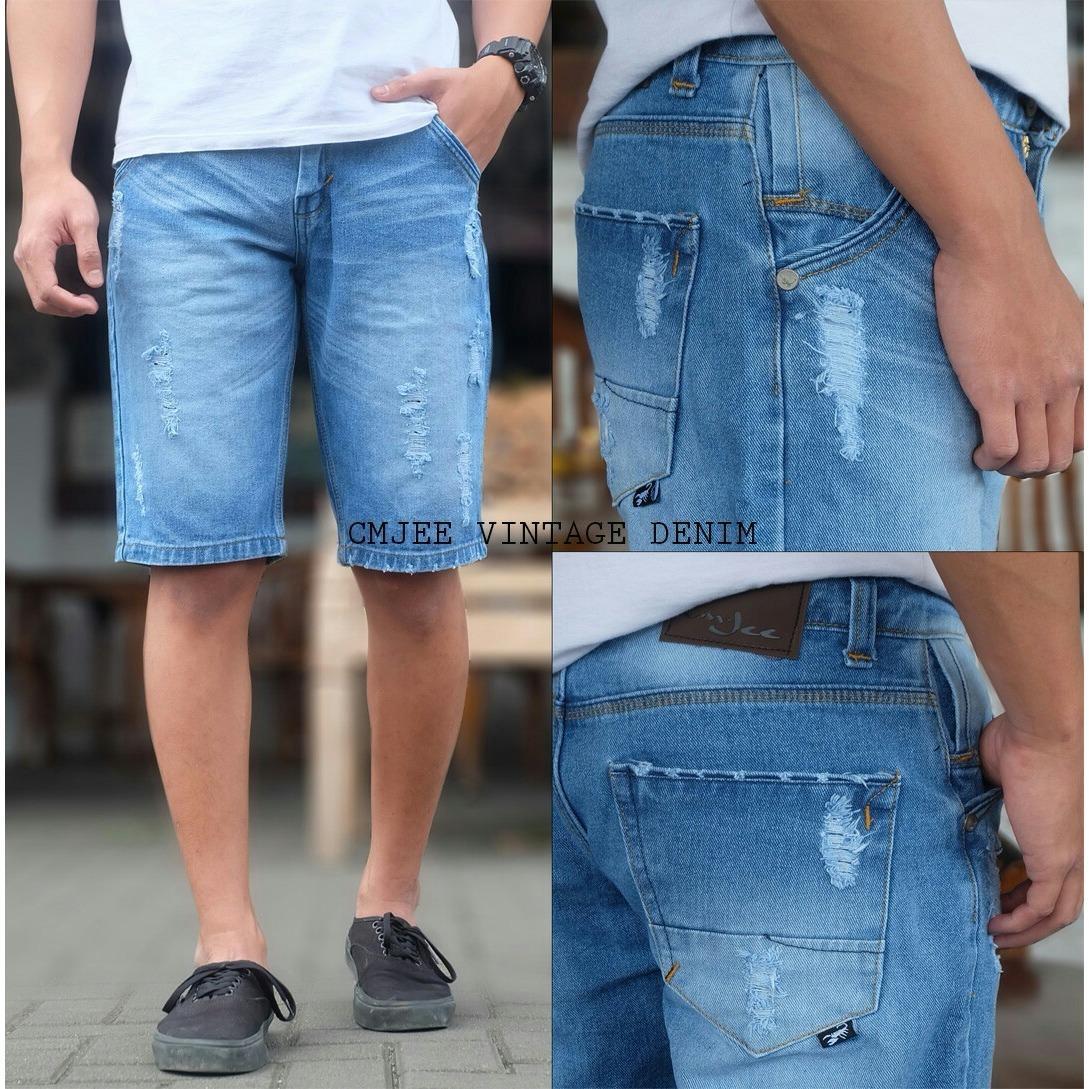 Celana jeans pendek sobek distro