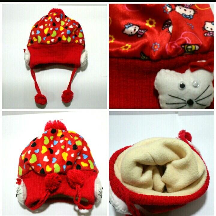 Detail Gambar Topi kupluk Hello Kitty baby import   topi winter anak Terbaru 35016a200d