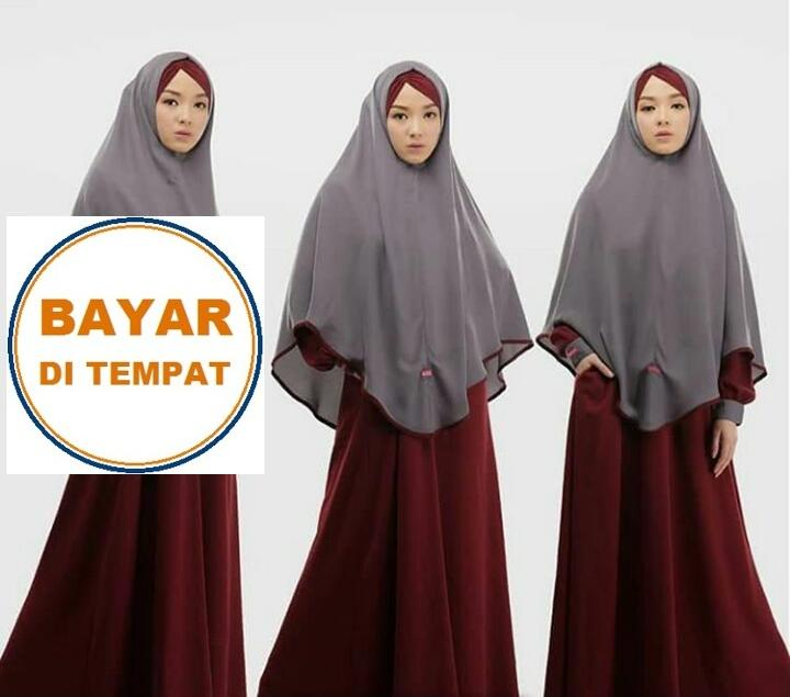 Features Aulia Fashion Maroon Abu Set Gamis Ghaisani Syari Busana