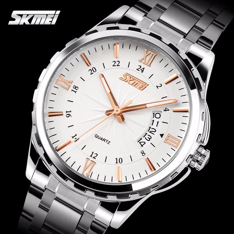 Harga Skmei Men Bisnis Watch Mode Quartz Watches Kendali Baja Waterproof Jam Tangan Emas Hitam 9069 Intl Merk Skmei