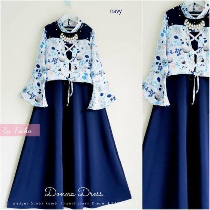 Baju Muslim Donna Dress Mix Bunga Katun Gamis Panjang Hijab Casual Pakaian Wanita Hijab Modern @rk