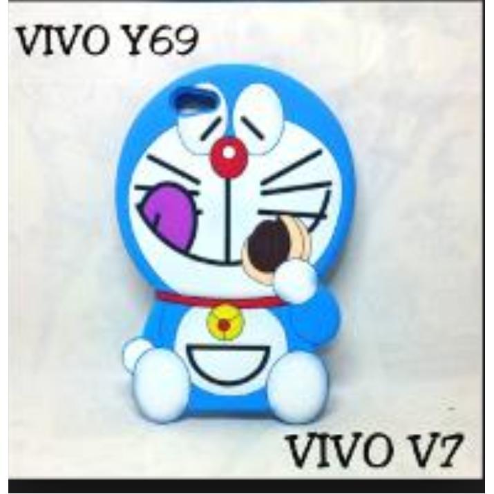 Case 4D Boneka Doraemon Vivo Y69 - Karakter - Soft - Silikon - Rubber - 3D