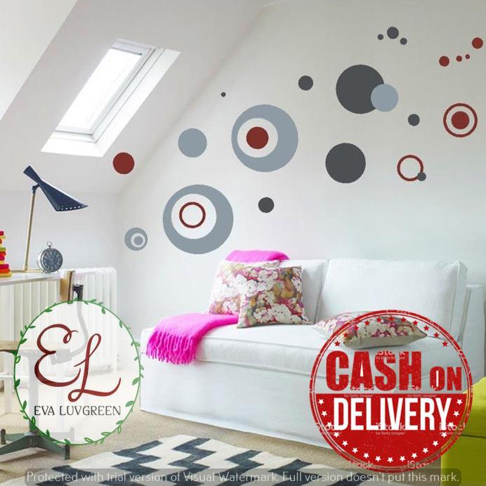 Eva Luvgreen Wallsticker Circle Ukuran 50x70cm Stiker Dinding/ Stiker Tembok/ Wallpaper Sticker/ Wall