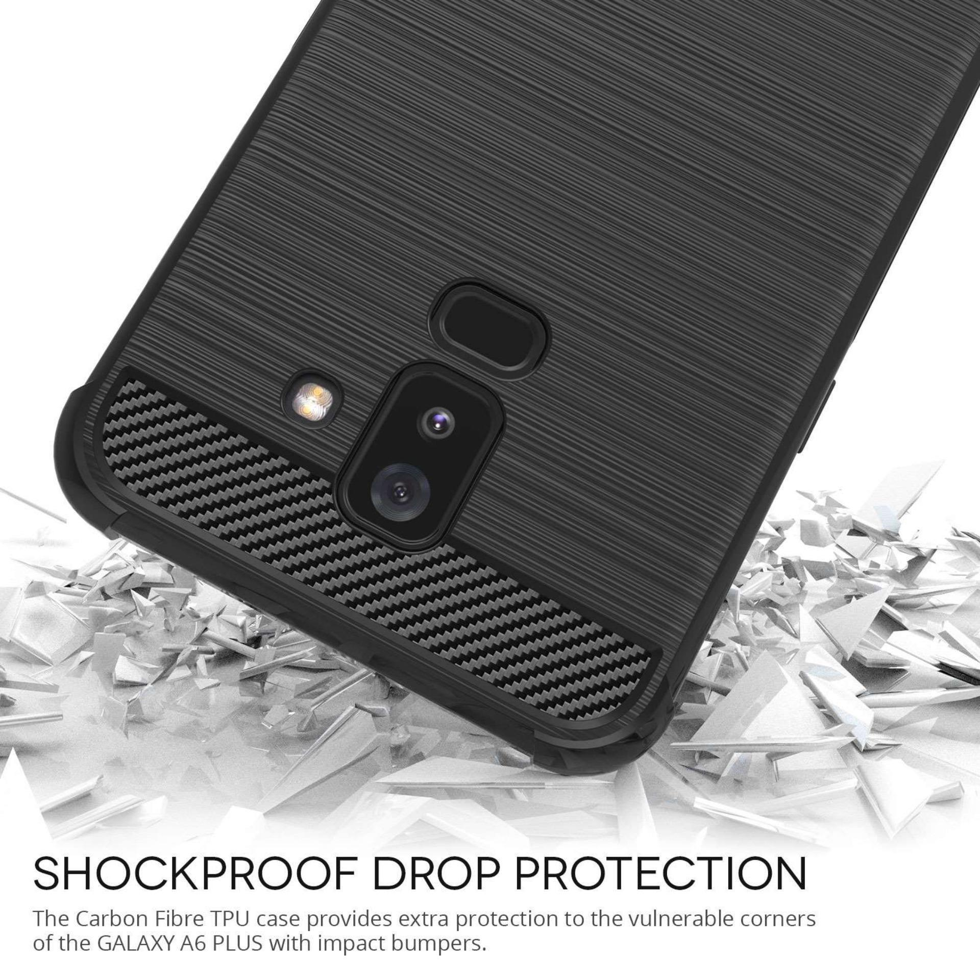 ... Renzanaacc Brushed Corner Protection Cushion Premium Carbon Shockproof TPU Case For Samsung Galaxy A6 Plus 2018