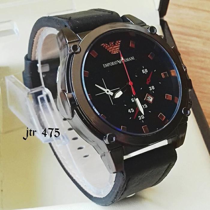 jam tangan emporio armani cowok / jtr 475 hitam