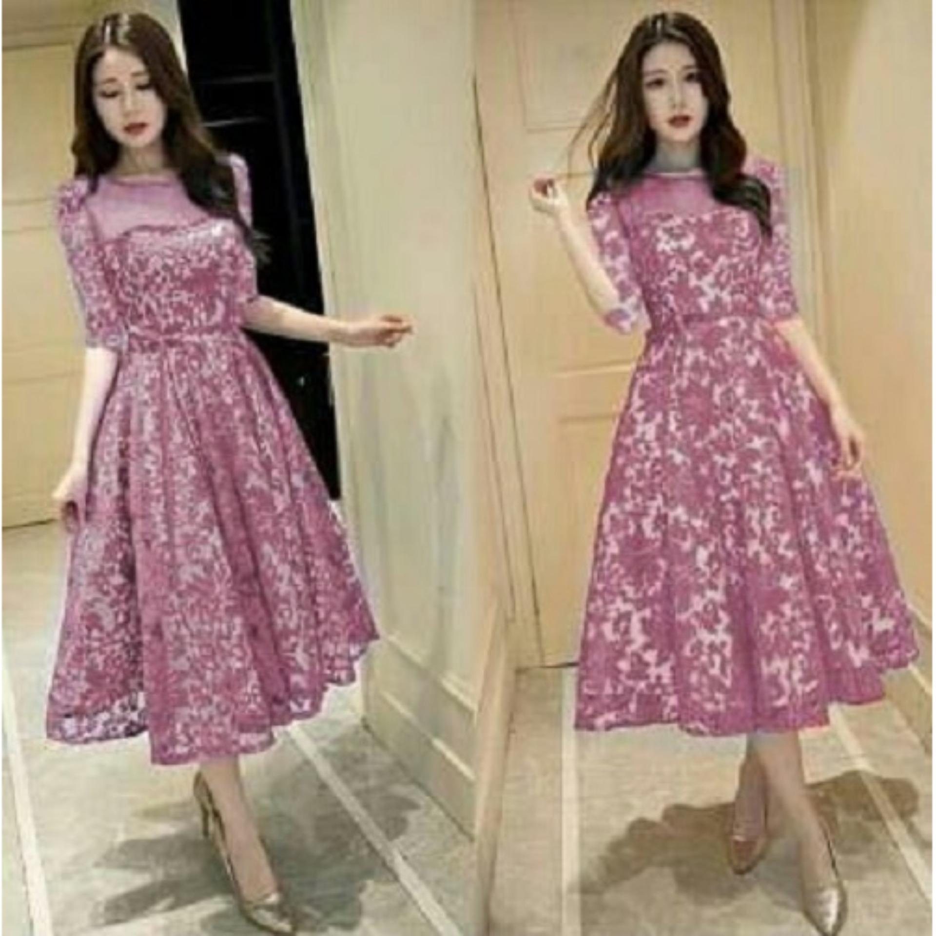 trendshopee Pakaian Wanita Mini Dress Gemma Brukat