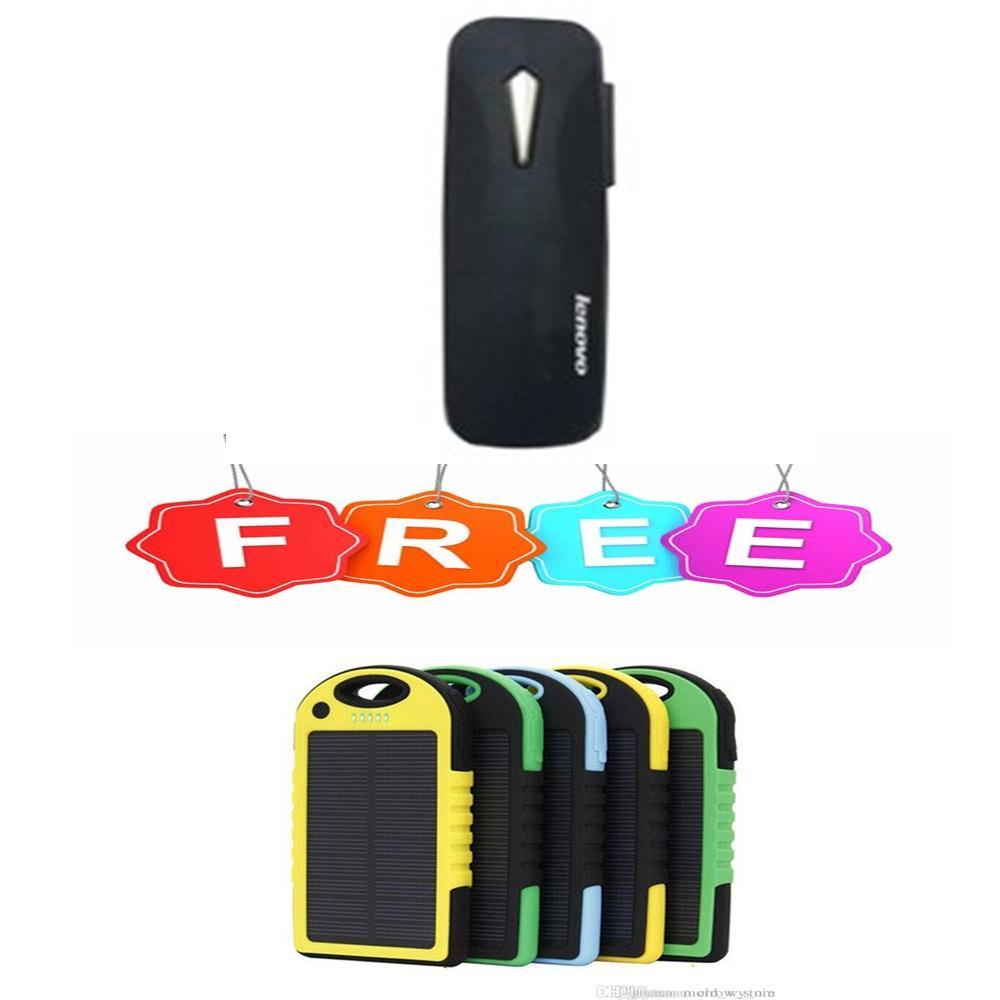 Handsfree Bluetooth For Lenovo 4.1 BLACK / WHITE Free Power Bank Solar-Random Color
