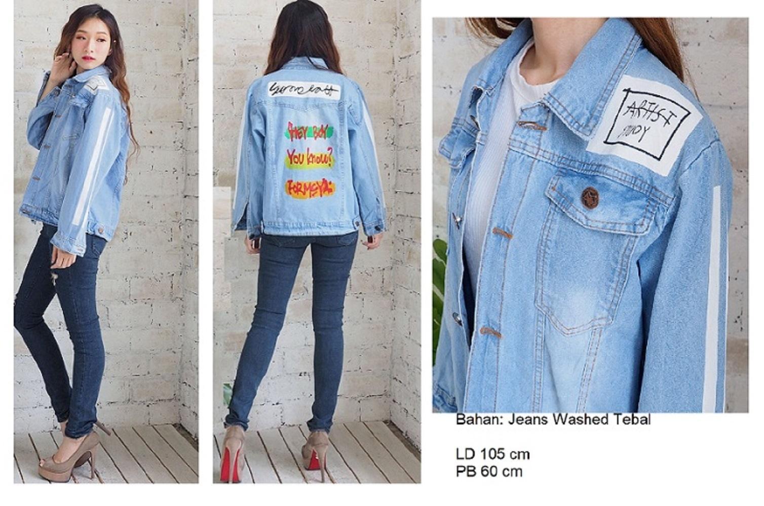 Kyoko Fashion Jaket Jeans Oversize Artist   Jaket Jeans Wanita   Jaket Jeans  Big Size Wanita 2a1fbb0233