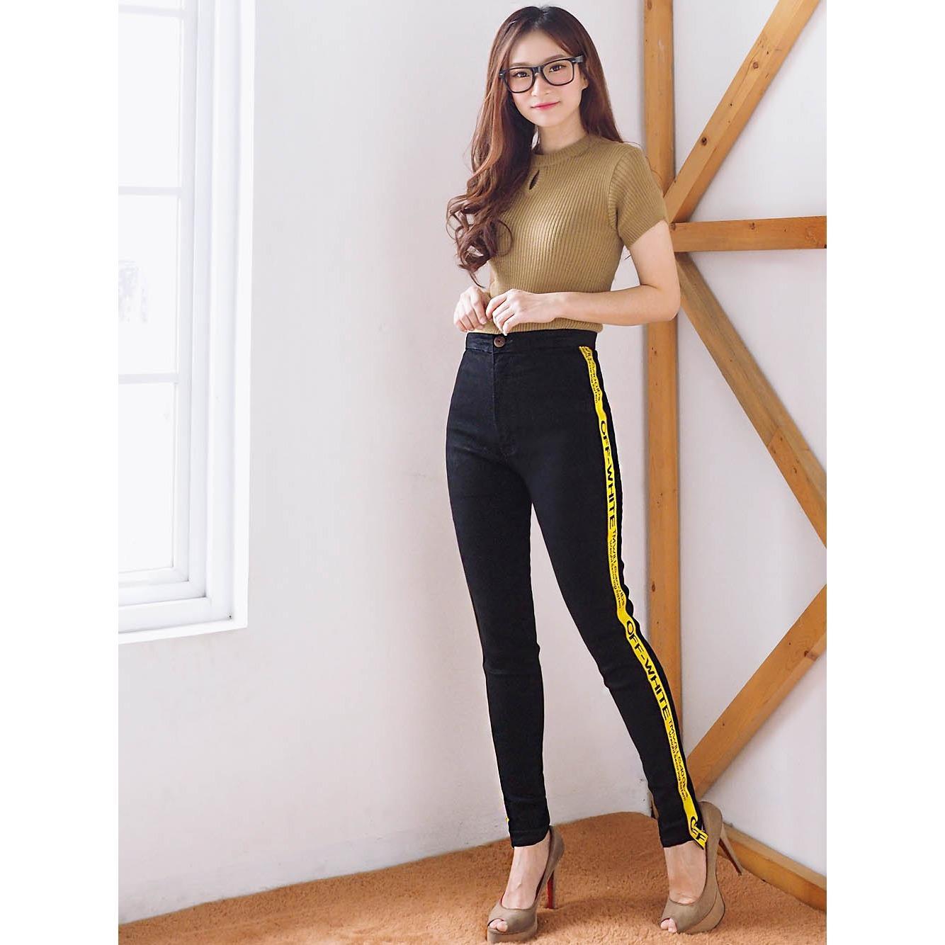 Jeans Celana wanita skinny HW - Blacko Yellow MAZ FR037 - Jeans Murah - Ancienstore