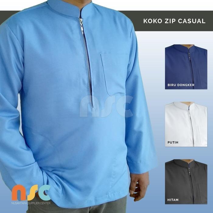 New! Baju Koko Resleting Pria Muslim Putih Polos Dewasa Lengan Panjang - Putih, M