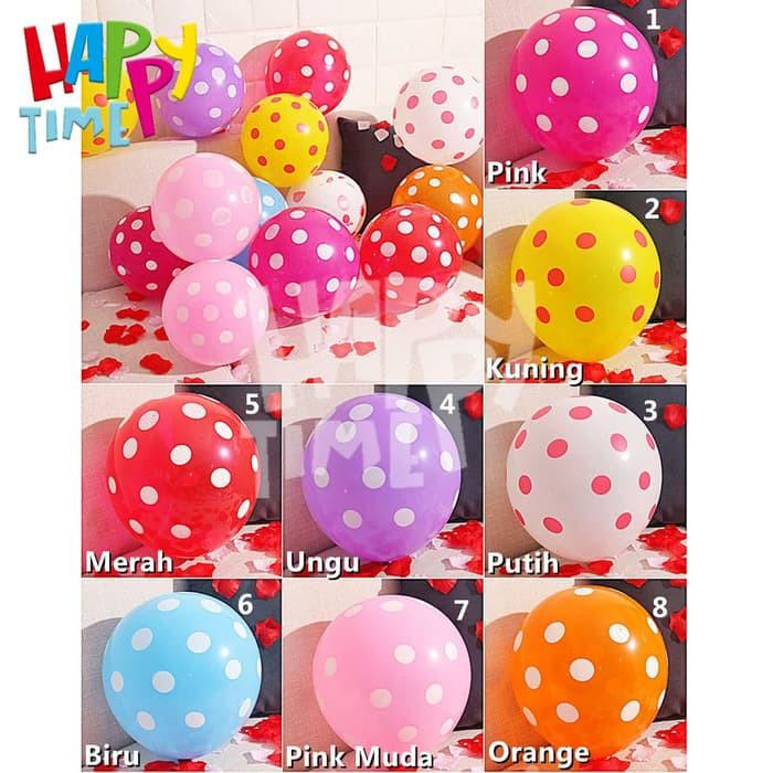 BALON LATEX TEBAL POLKADOT MIX ISI 10 PC BALON POLKADOT MURAH BALON LATEX