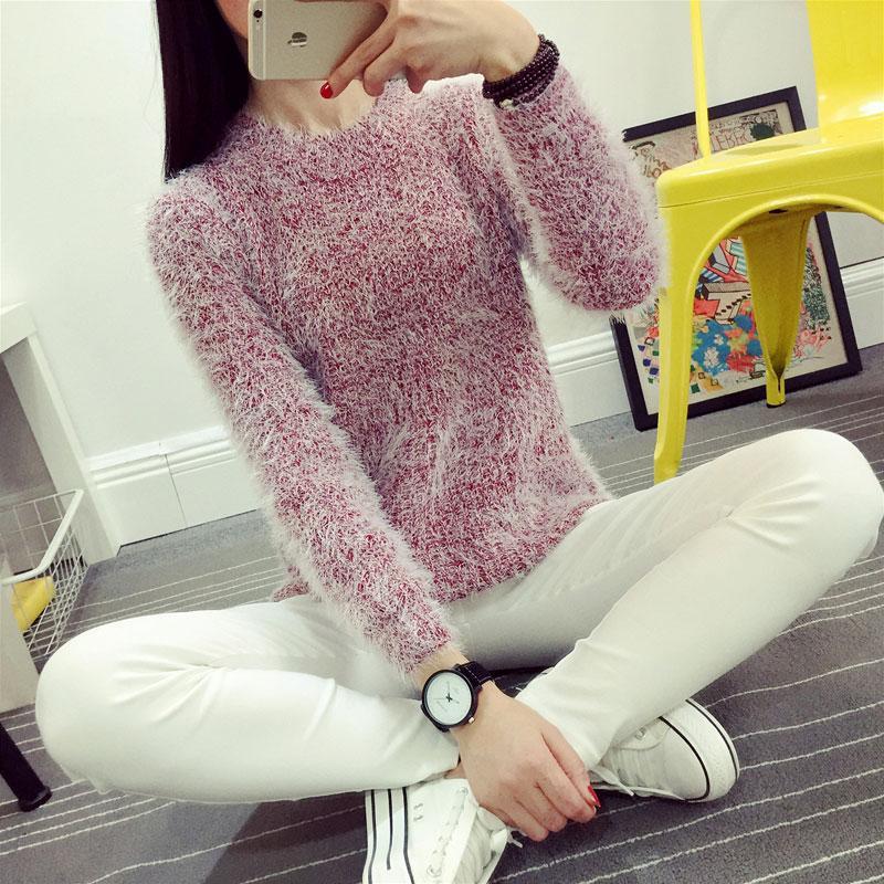 Model baru Korea Selatan model wanita Kemeja rajut longgar Ma Hai Mao kerah  bulat sweaster pulover e4f674b70d