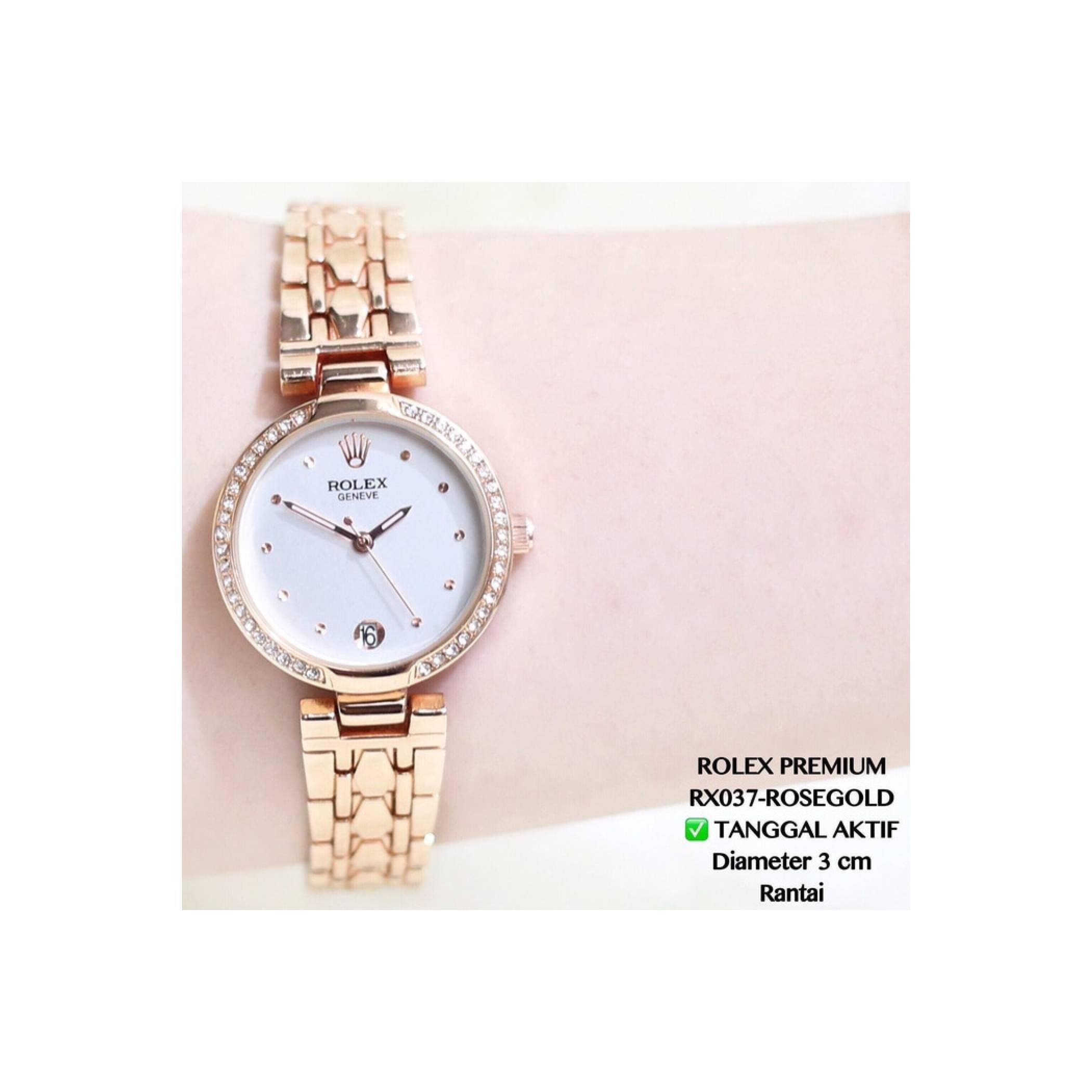 Jam Tangan Analog Rolex Rantai Tanggal Aktif Termurah Wanita/Cewek Fos