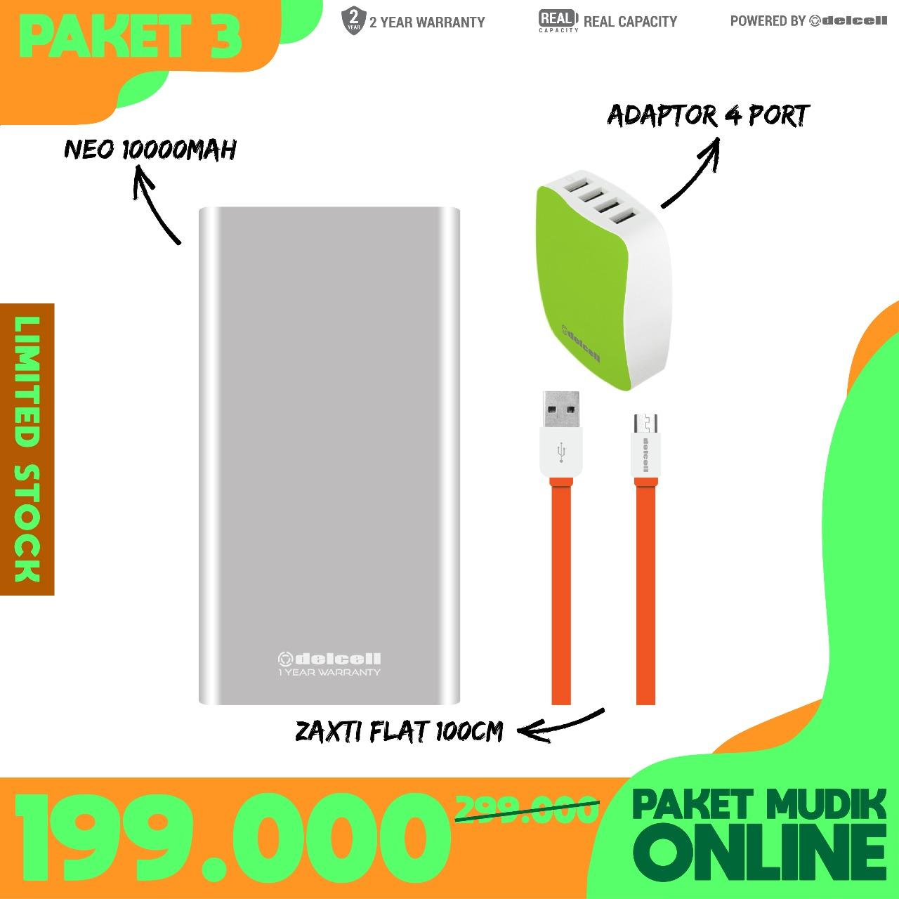 PAKET MUDIK 3 - Delcell NEO Powerbank 10000mAh Free Delcell Adaptor Charger 4 Port 6A - Delcell Zaxti Cable Flat 100cm Random Colour