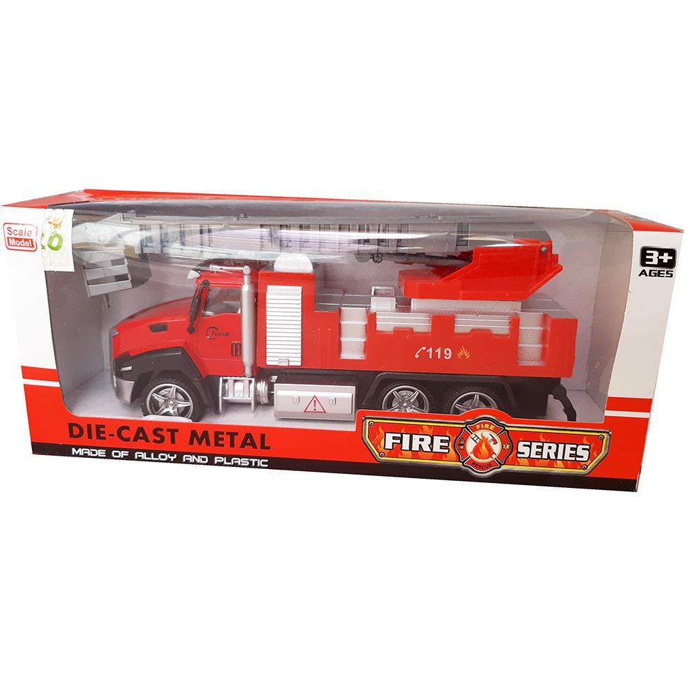 AA Toys Die Cast Metal Truck Fire Engine Pull Back - Mainan Truck Pemadam - 2