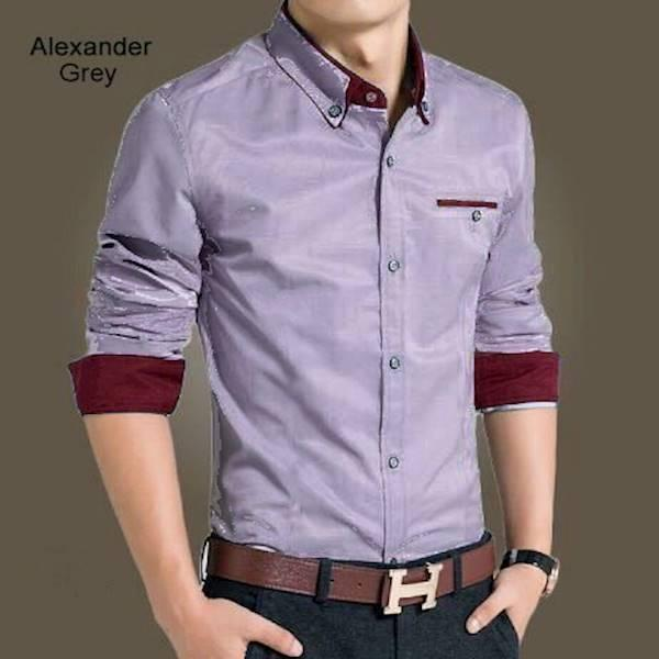 Kemeja Slim Fit Alexander Grey