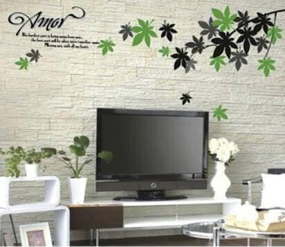 ... wall sticker 50x70/wall stiker transparan-AY718-amor leaves - 4