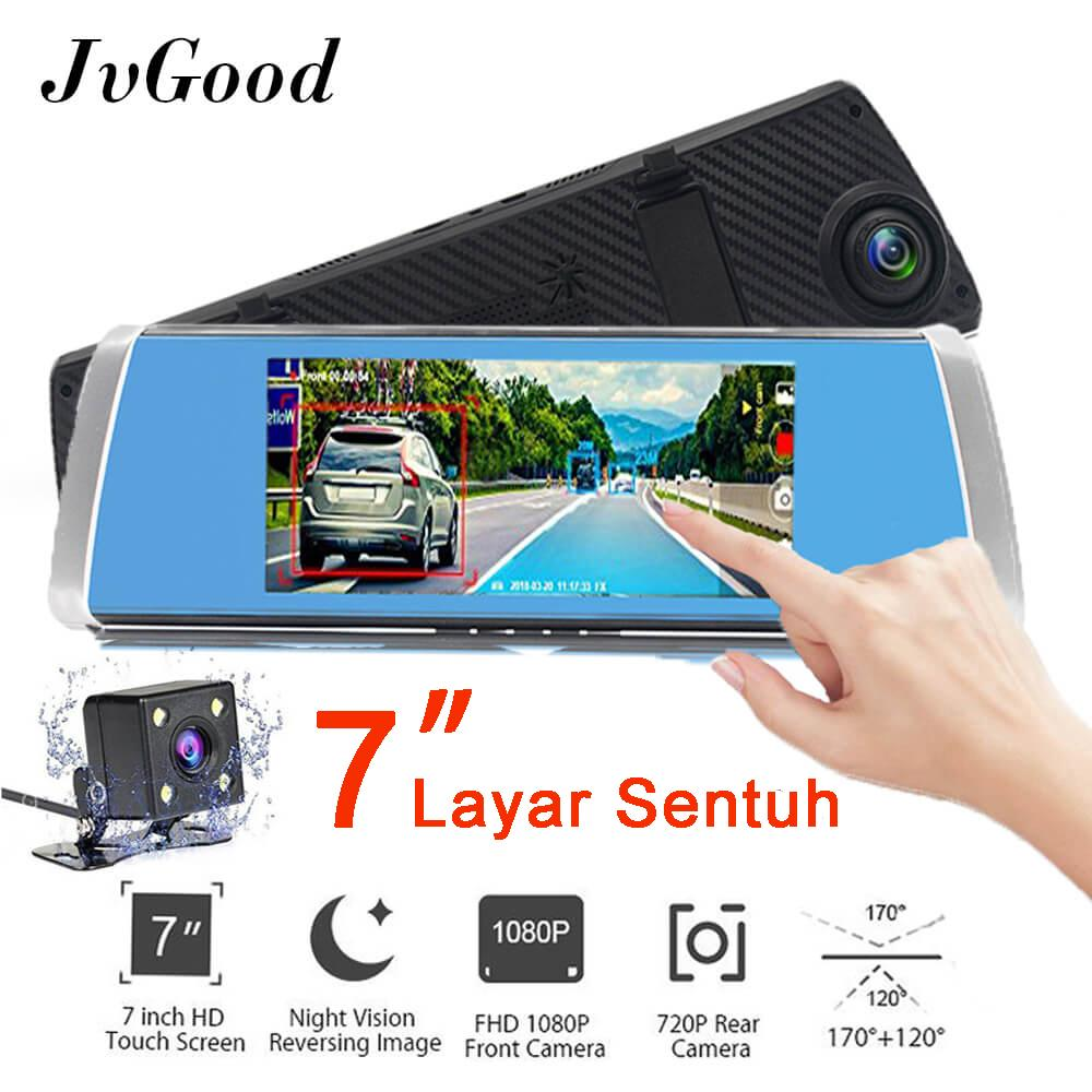 Jual Jvgood 7 Inch Touch Screen Mobil Kamera Dual Lens Car Kamera Rearview Mirror Kamera Camcorder Car Dvr Fhd 1080P Dash Cam Video Recorder Grosir