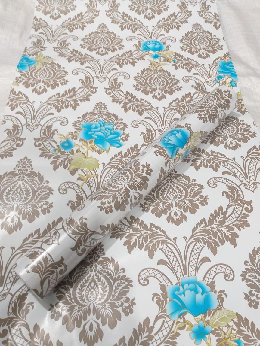 Wallpaper Stiker Dinding Motif Dan Karakter Premium Quality Size 45cm X 10M Batik Silver Bunga Biru
