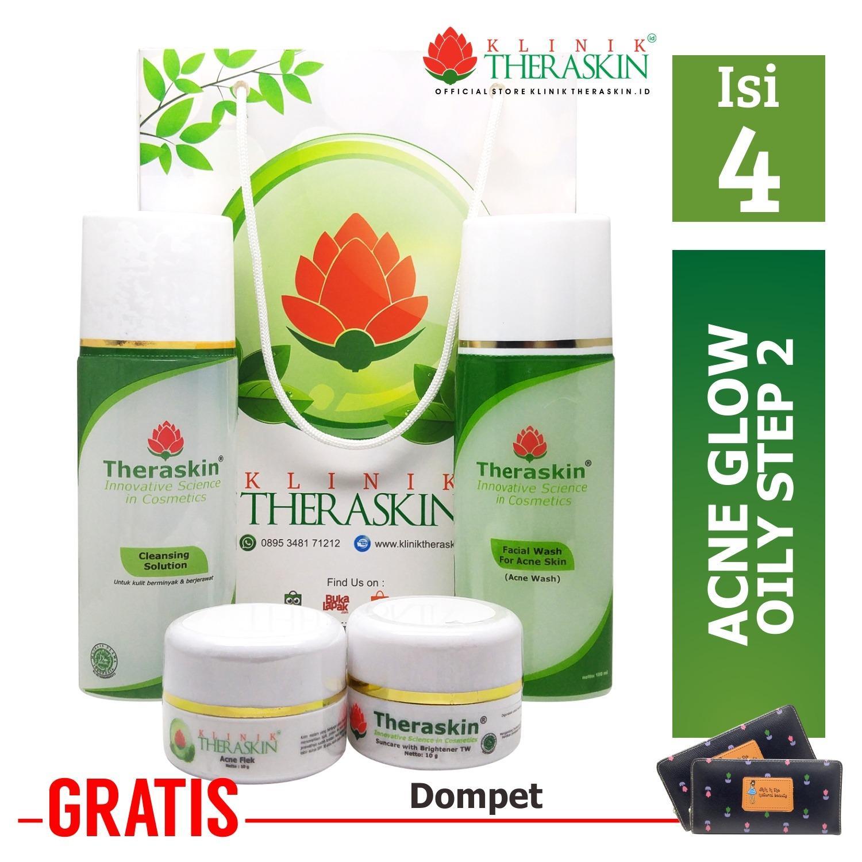 Theraskin Acne Glow White Oily Step 2  / Paket Theraskin  Untuk Kulit Berminyak Dengan Noda Bekas Jerawat + GRATIS DOMPET