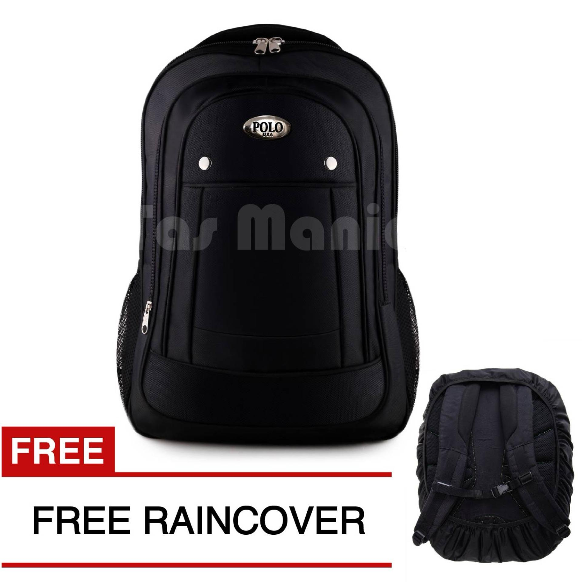Polo Campus Black Cobra 827 Laptop Backpack + FREE Raincover