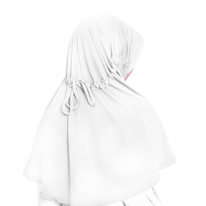 BAJUYULI - Kerudung Jilbab Anak Murah Polos Basic Adem Putih - 2