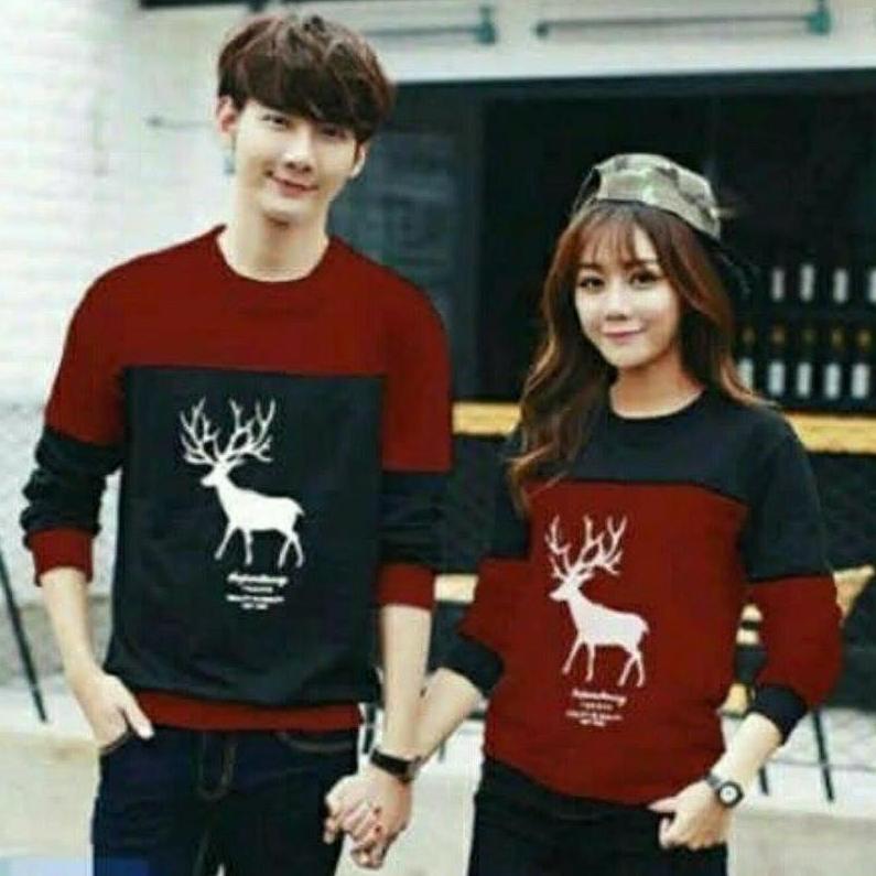SWEATER COUPLE MOOSE SWEATER PASANGAN RUSA (sudah 2 sweater)