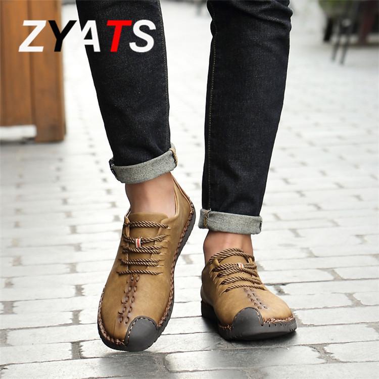 ZYATS Kulit Men's Flats Sepatu Moccasin Casual Loafers Slip-On Besar Ukuran 38-46 Kuning - 5