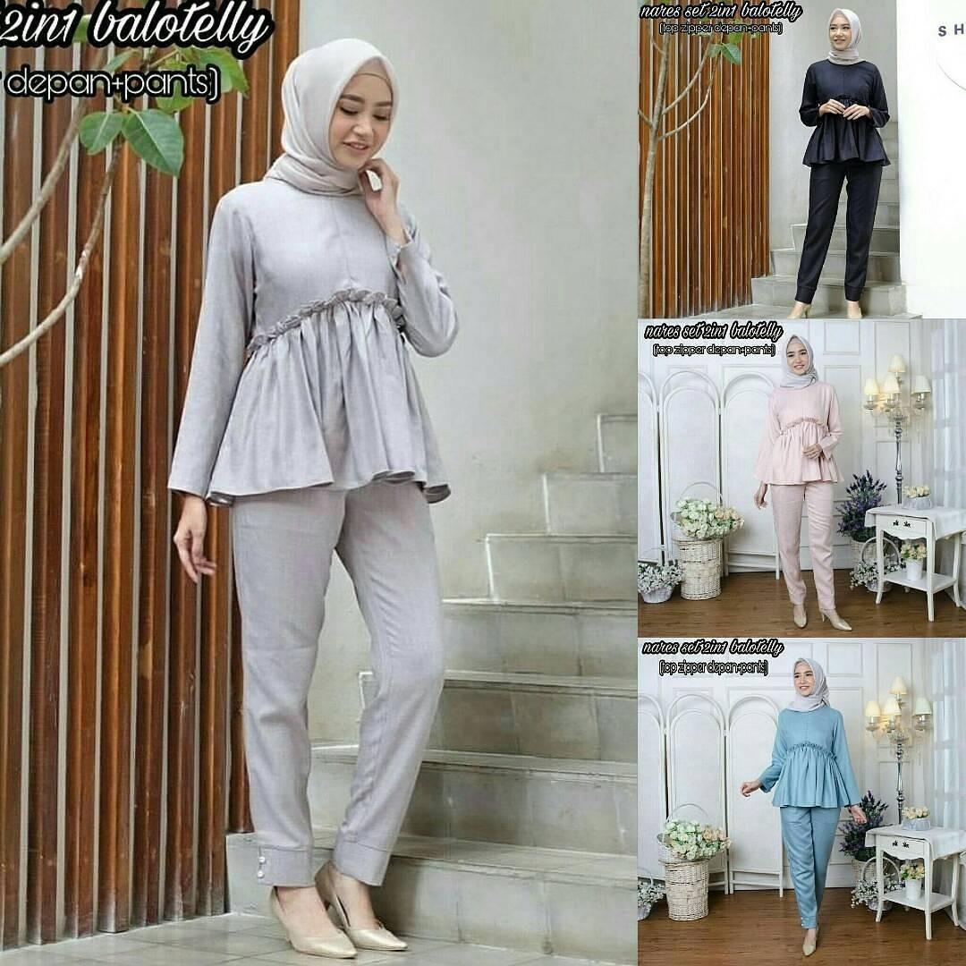 New Baju Original Nares Set 2in1 Balotely Setelan Atasan + Celana Rok Overall Fashion Wanita Pakaian Muslim Cewek Hijab