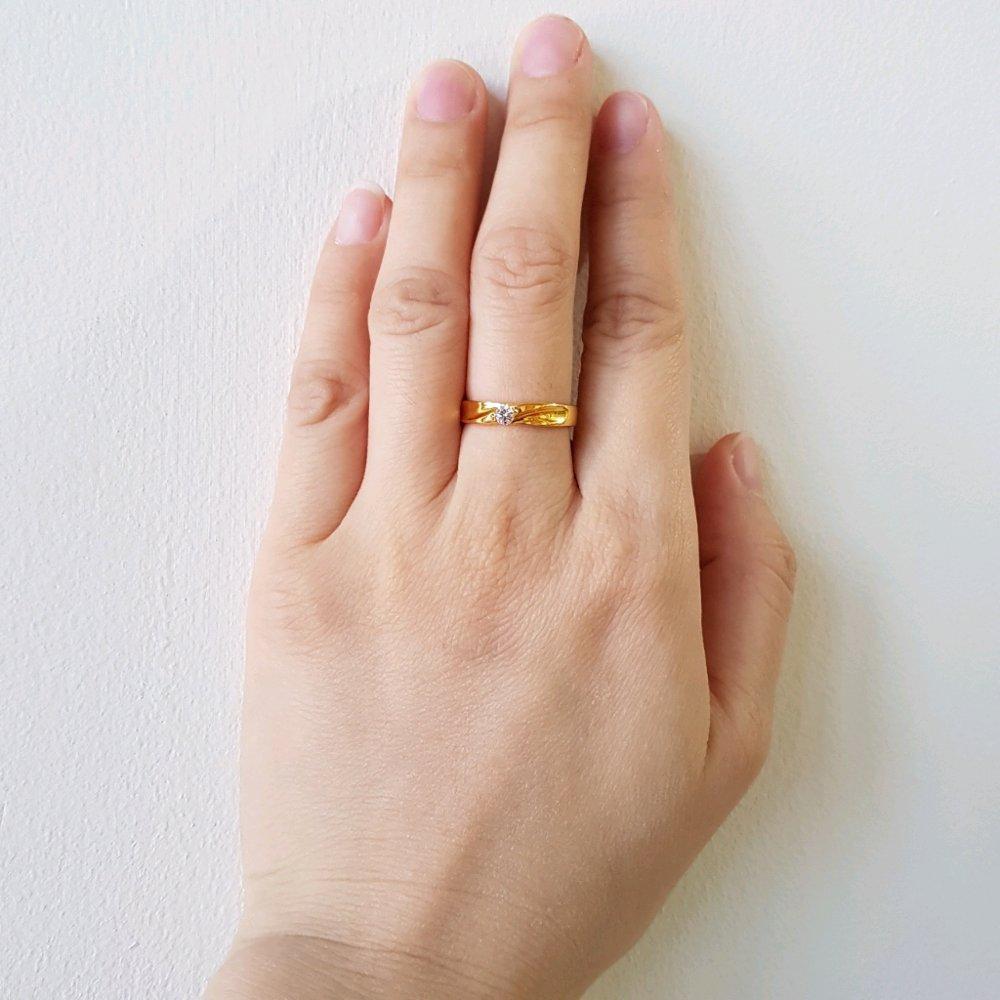 Fitur Pilihan Terbaik Cincin Emas Asli Kadar 875 21k Rose Ring Berlian Perhiasan Kawin Tunangan