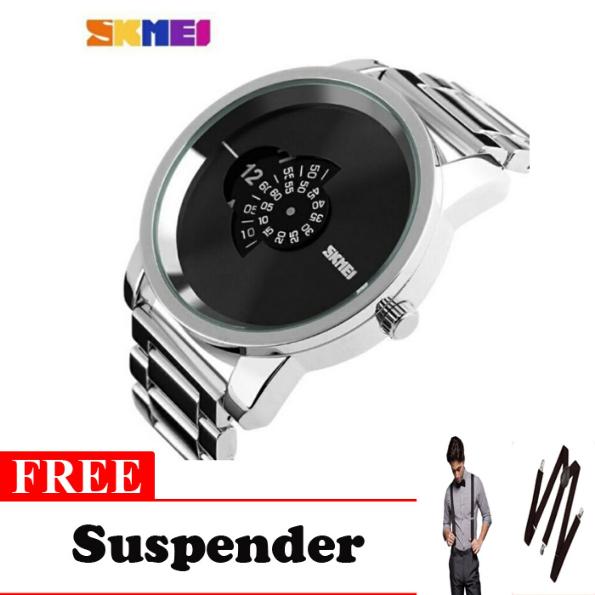 SKMEI Casio Man Sport LED Watch Water Resistant 30m - AD1171 - Black free Suspender Keren