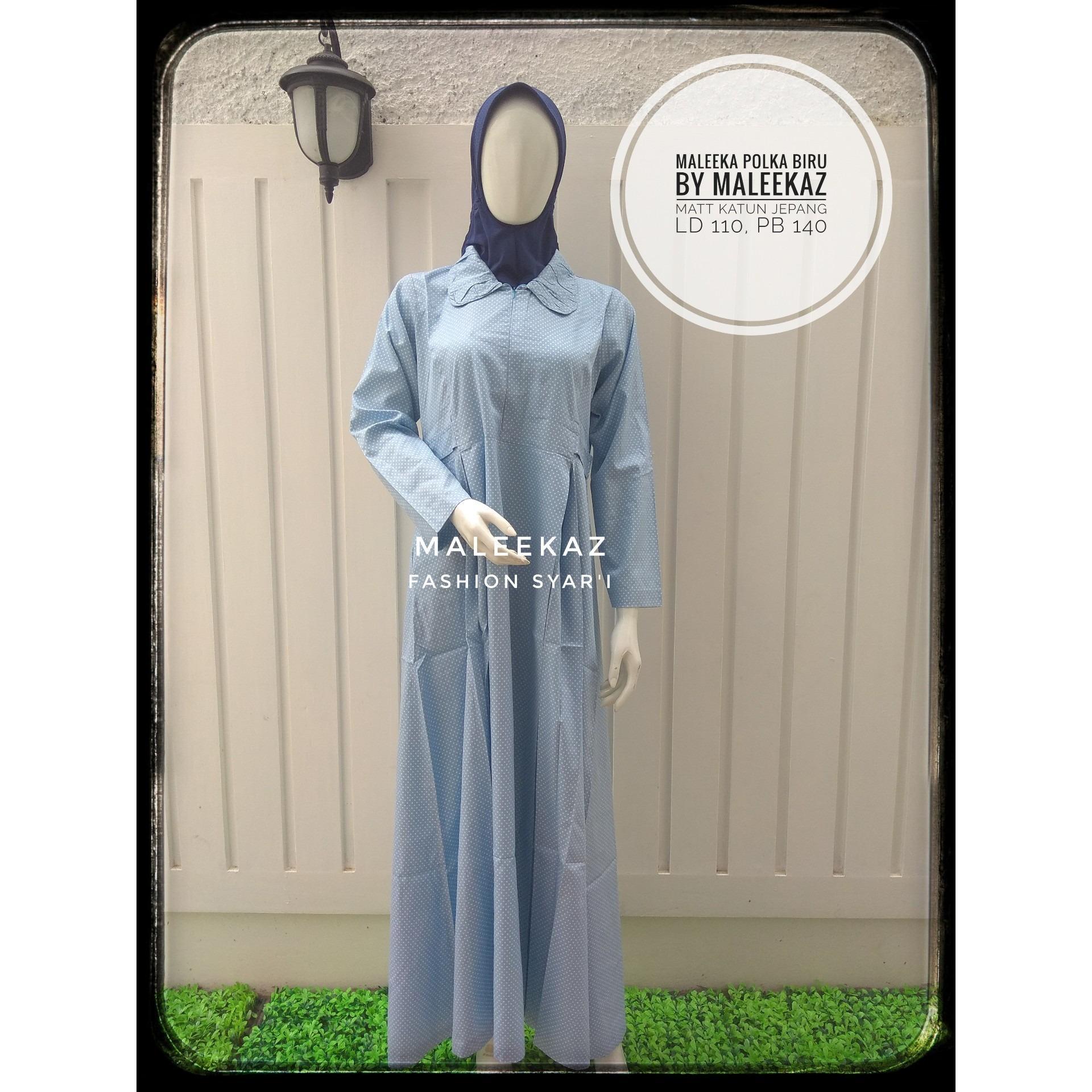 Spesifikasi Gamis Katun Jepang Syari Maleeka Polka Dress Biru Muda Baru